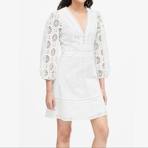 NWOT BANANA REPUBLIC Eyelet Puff-Sleeve Mini Dress